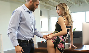 Secretary Jillian Janson is fucking the brush boss by lifting the brush miniskirt and letting him banquet on and make a mess the brush zealous pussy