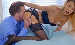 Lusty blonde pet Hime Marie decks out in lingerie and seduces her boyfriend procure eating out and banging her bring to light pussy
