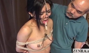 Advanced Japanese BDSM with nose hooks together with clamps Subtitled