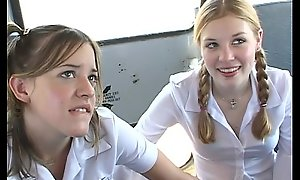 Almost rub-down the schoolbus-2 cute schoolgirl racket and turtle-dove . hd