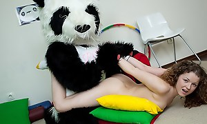 Natty sexy legal age teenager fucks with funny Panda